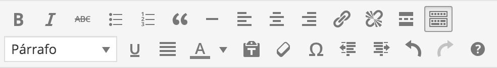Barra de herramientas WordPress