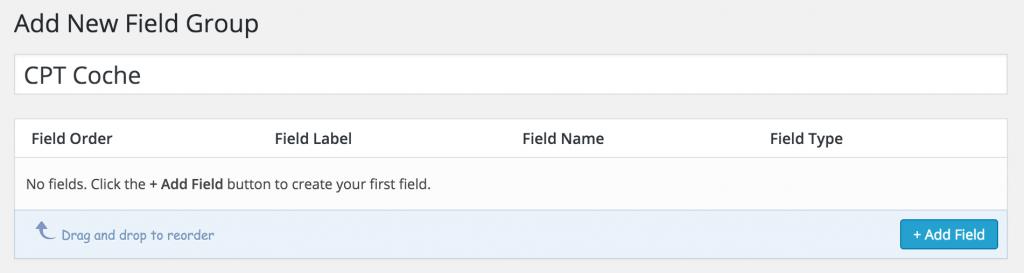 Formulario para generar un nuevo grupo de campos ACF.
