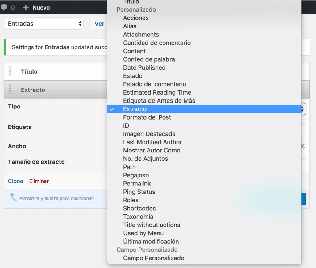 admin columns wordpress-plugin-seleccionar tipo de columna