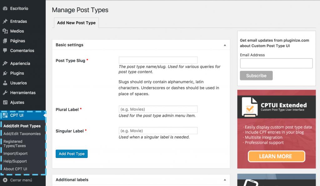Página de configuración del plugin Custom Post Type UI