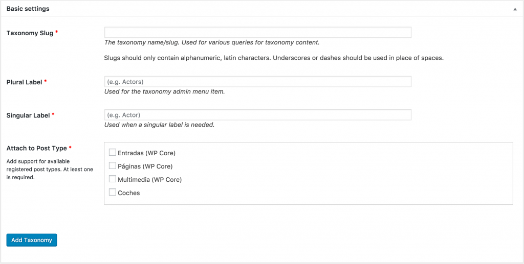 custom post type ui crear taxonomia