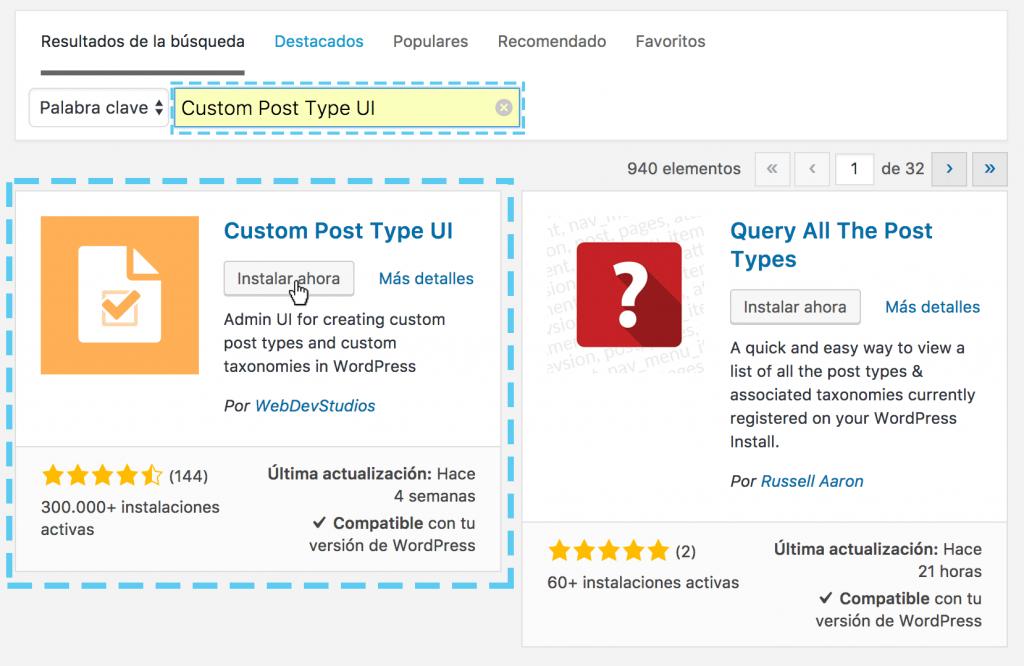 Cómo instalar el plugin custom post type ui