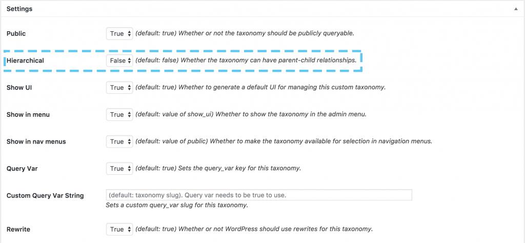 custom post type ui taxonomias configuraciones