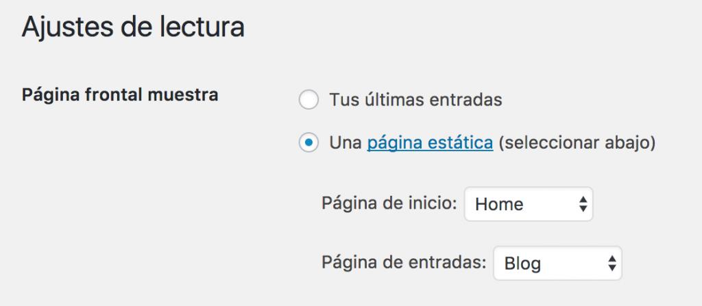 WordPress configuración de pagina principal