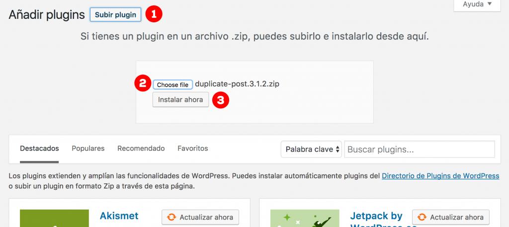 wordpress instalar plugin manualmente