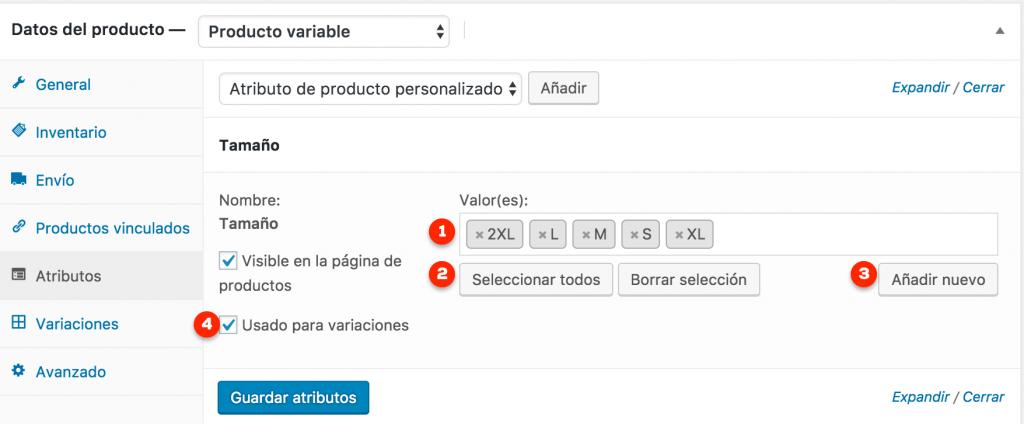 Detalle de atributos de un producto variable en WooCommerce