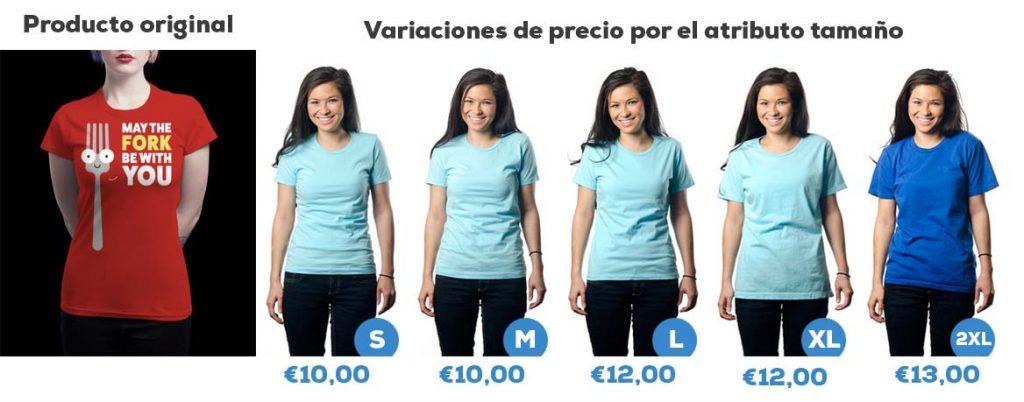 Ejemplo de variación de precio de un producto por el atributo tamaño