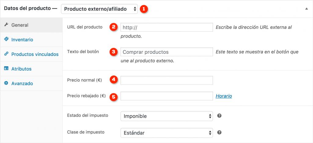 Formulario de producto externo o afiliado de WooCommerce