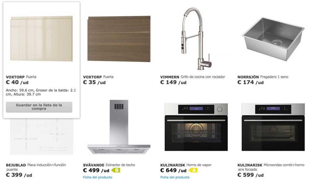 Listado de productos de IKEA