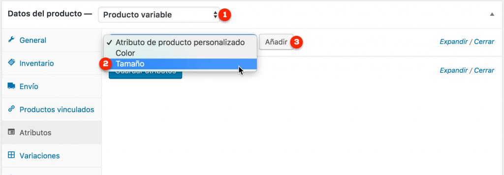 Pestaña atributos de un producto variable de WooCommerce