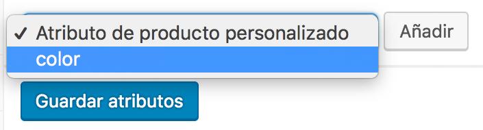 Selector de atributos personalizados de un producto de WooCommerce