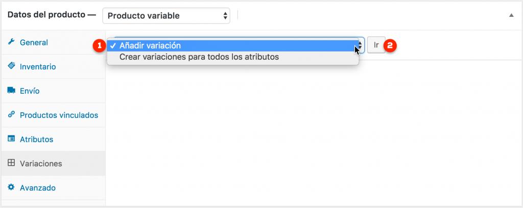 Selector de variación de atributo producto variable