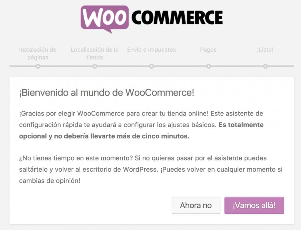 Bienvenida de la Instalación Rápida de WooCommerce