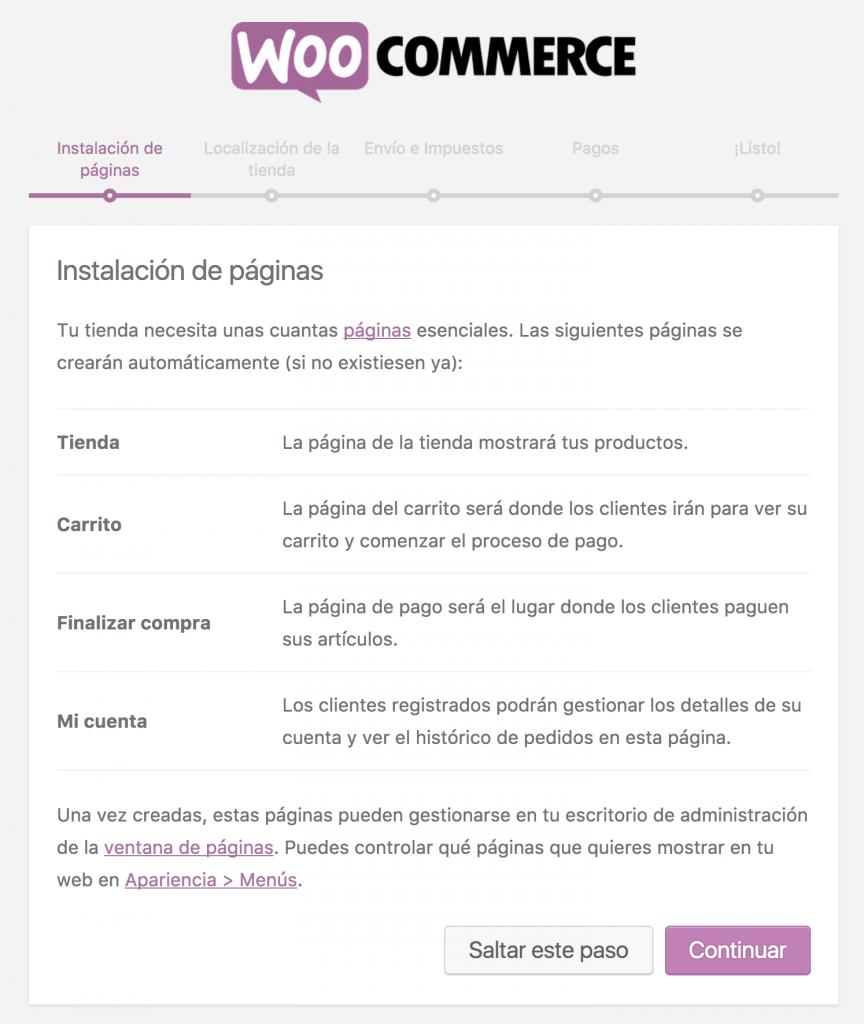 Formulario de instalación de páginas del asistente de configuración de WooCommerce