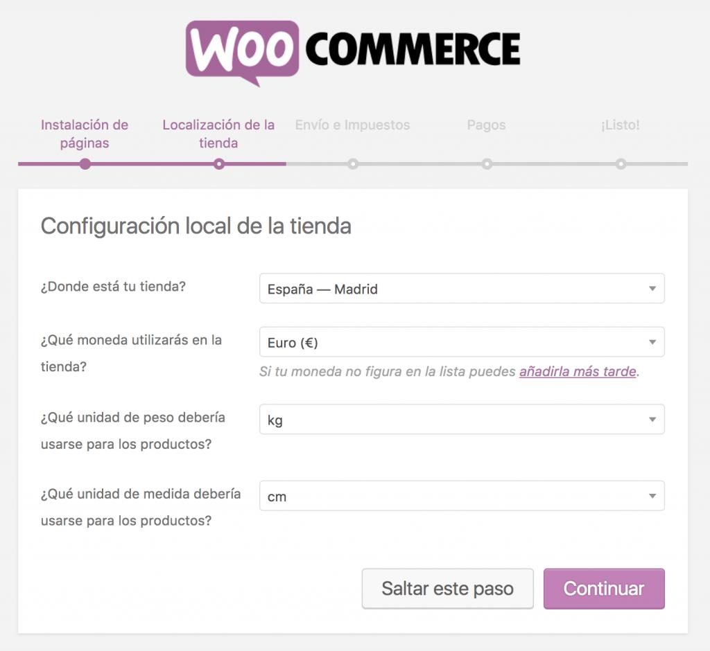 Formulario de localización de la tienda en el asistente de configuración rápida de WooCommerce