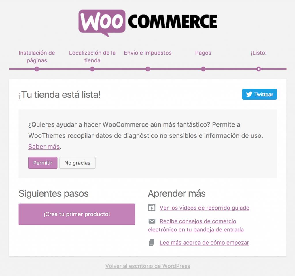 Último paso en el asistente de configuración rápida de WooCommerce