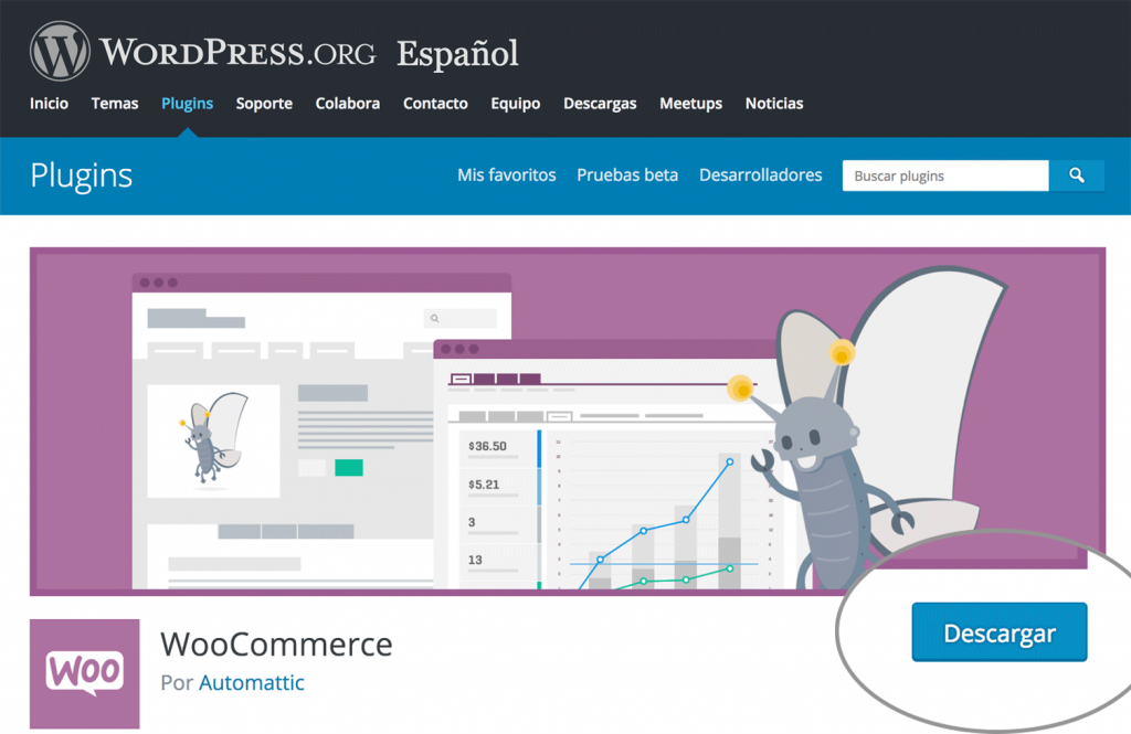 Plugin de WooCommerce en el repositorio de WordPress