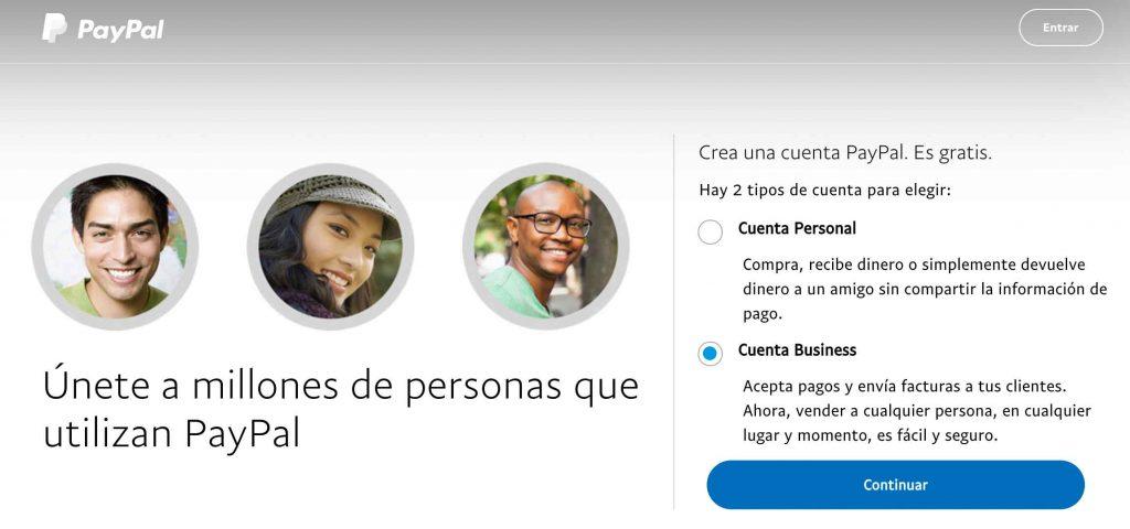 click en cuenta business PayPal