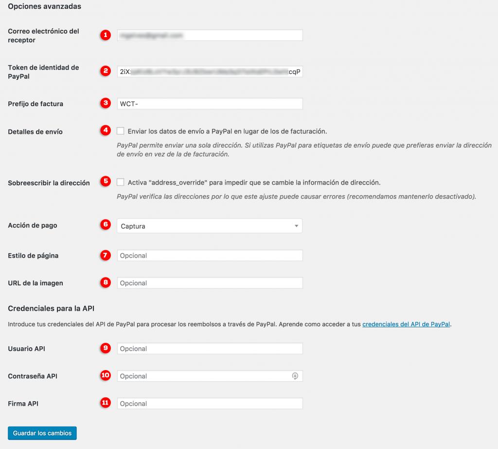 Configuración avanzada PayPal en WooCommerce