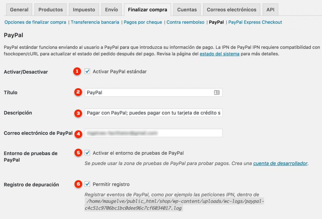 Configuración básica PayPal en WooCommerce
