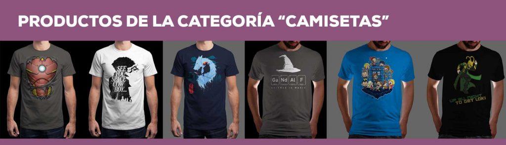 """Listado de productos de la categoría """"Camisetas"""""""