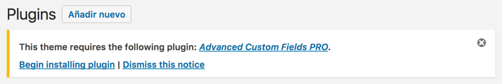 Mensaje de dependencia del plugin Advanced Custom Field Pro