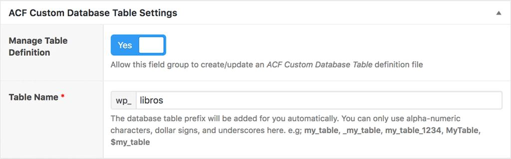 acf custom datatables nueva opcion