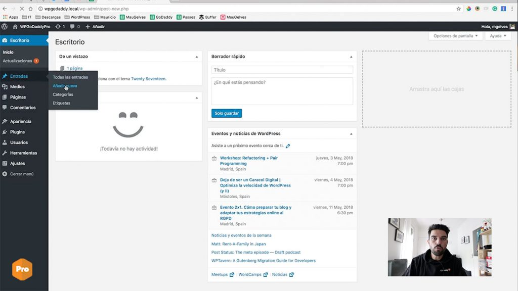 captura de pantalla grabación quick tip wordpress godaddy pro