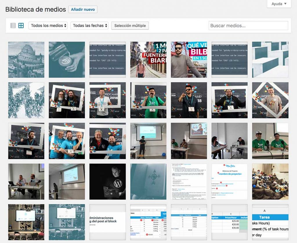 galeria de medios de WordPress