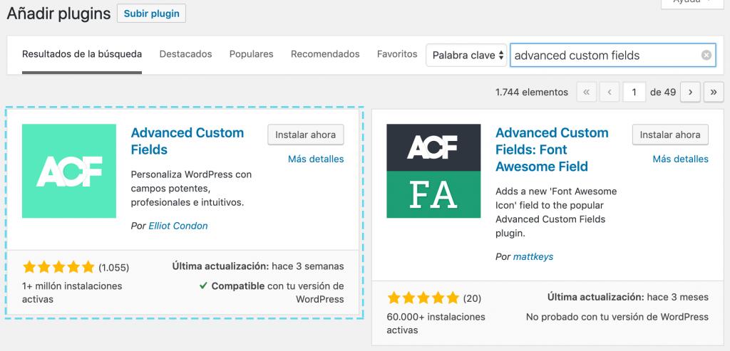 Instalar ACF en su versión gratuita