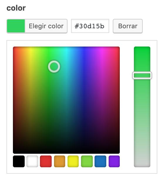 Campo Selecto de color de ACF
