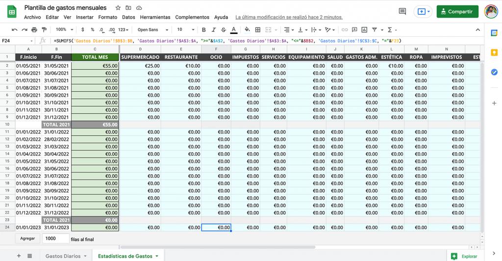 Plantilla de hoja de cáclculo para gastos personales y finanzas
